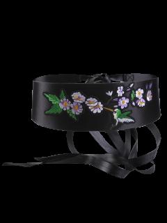 Bird Flowering Shrub Embroidery Wide Corset Belt - Black