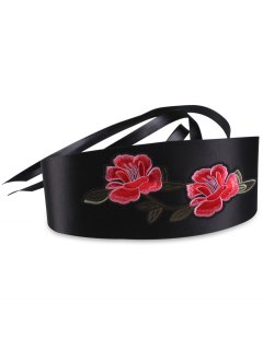 Vintage Flowers Embroidered Banded Wide Corset Belt - Black