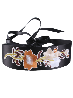 Chinoiserie Flowers Embroidered Wide Corset Belt - Brown