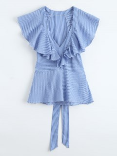 Plunge Ruffle Striped Top With Belt - Blue S