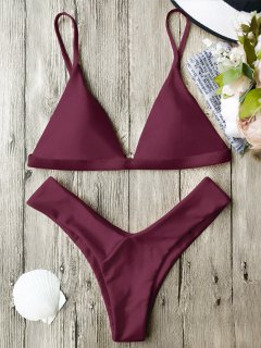 Soft Pad Spaghetti Straps Thong Bikini Set - Burgundy S