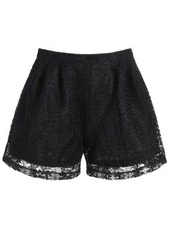 High Waisted Double Layer Lace Shorts - Black Xl