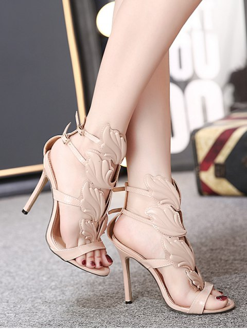 outfits Mini Heel Double Buckle Strap Sandals - NUDE 37 Mobile