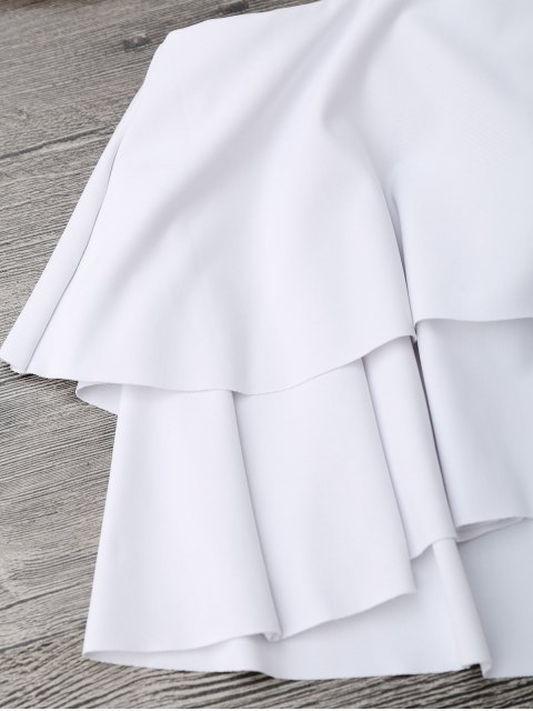 women Flounce Layers Off The Shoulder Bikini Set - WHITE S Mobile