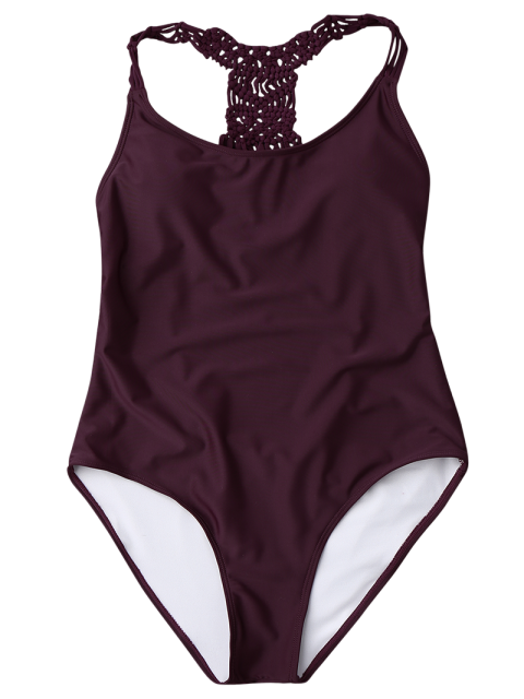hot Macrame Open Back One Piece Swimsuit - MERLOT L Mobile