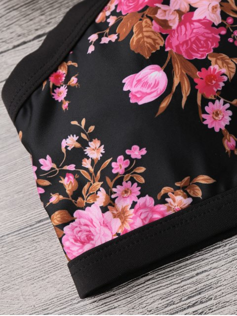 new Floral Banded Strappy Bikini Set - BLACK XL Mobile
