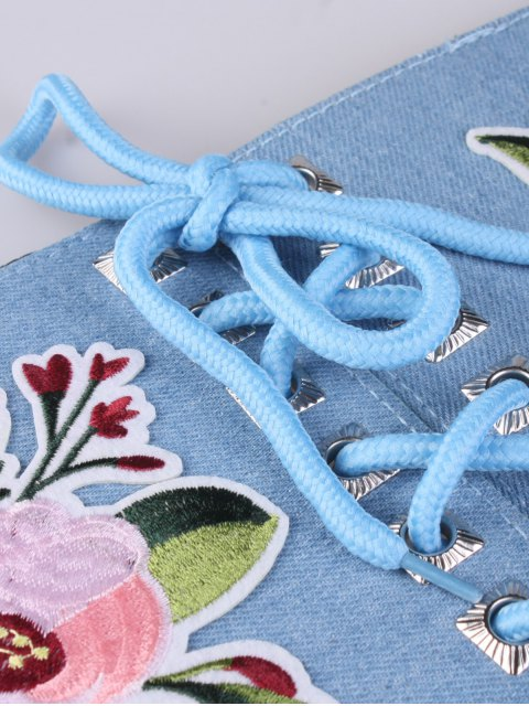 best Lace Up Floral Embroidery Wide Leather Belt - LIGHT BLUE  Mobile