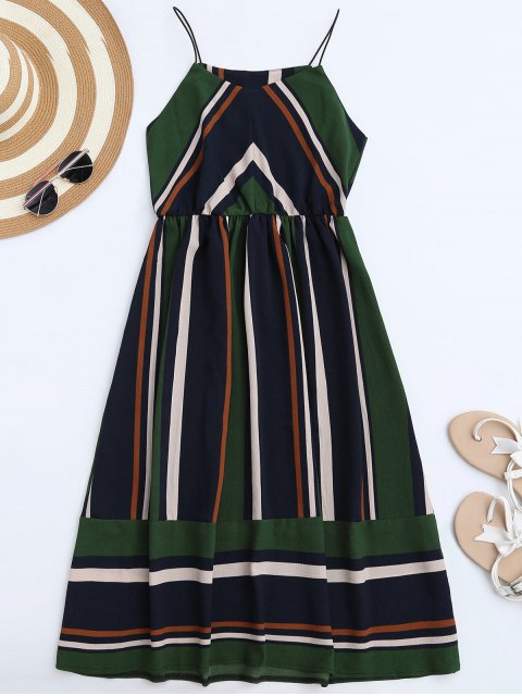 fancy Multi Stripe Cami Midi Sundress - GREEN L Mobile