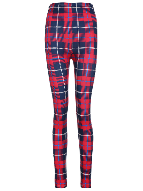 women's Tartan Check Ankle Leggings - RED WITH BLACK ONE SIZE Mobile