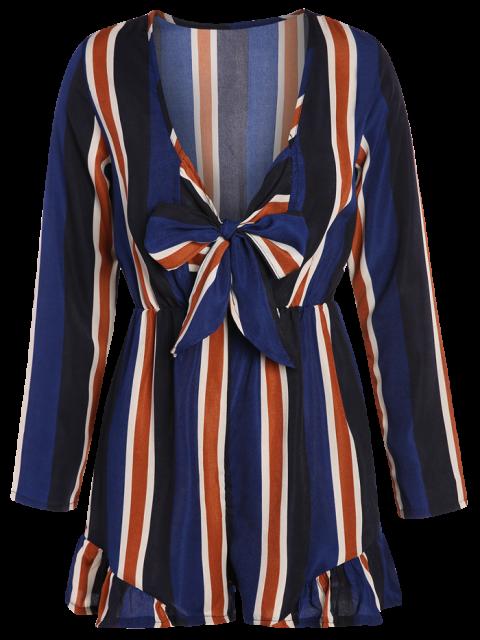 shops Tie-Front Striped Romper - COLORMIX M Mobile