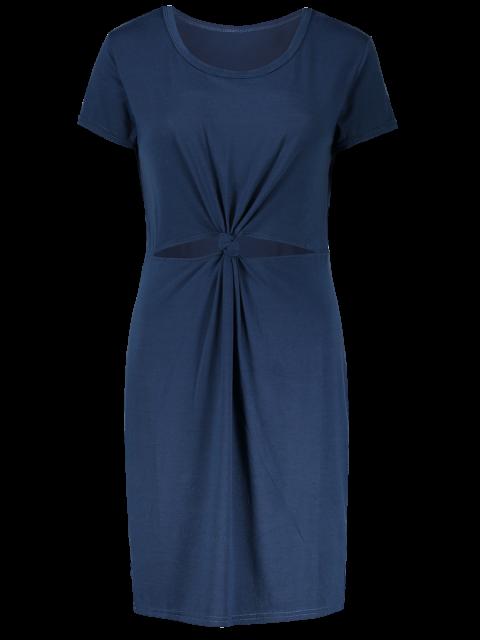 new Cut Out Front Twist Bodycon Dress - BLUE L Mobile