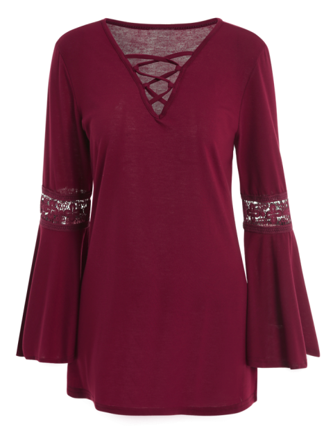 womens Flare Sleeve Lace-Up T-Shirt - WINE RED L Mobile