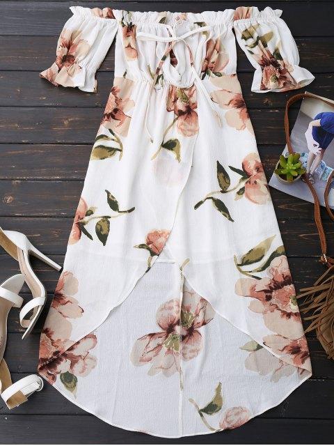 fashion Off Shoulder Ruffle Asymmetric Floral Dress - WHITE S Mobile