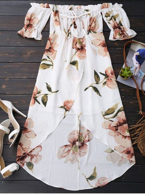chic Off Shoulder Ruffle Asymmetric Floral Dress - WHITE M Mobile