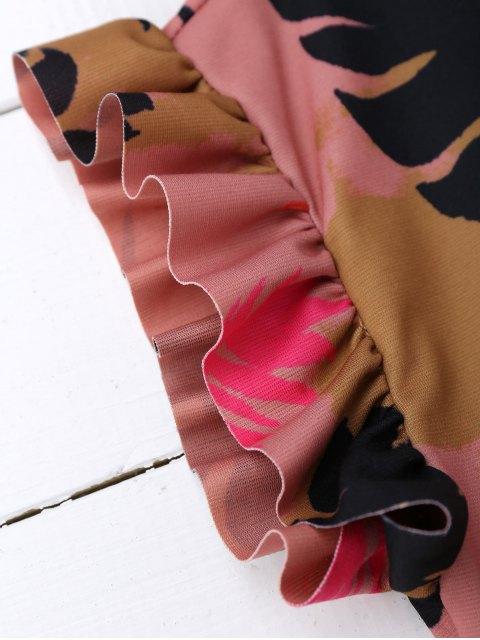Ruffle Tropical Print Shift Dress - Multicolore L Mobile