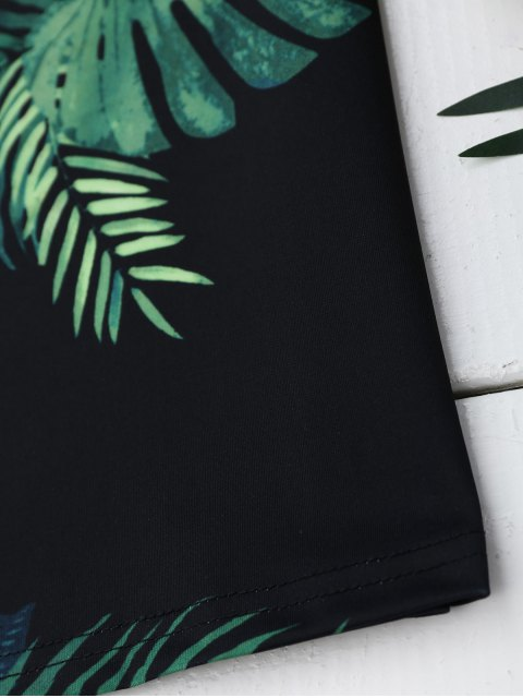 buy Palm Tree Print Lace Up Slip Dress - BLACK S Mobile