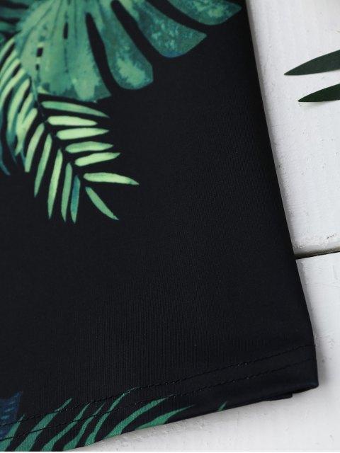 women Palm Tree Print Lace Up Slip Dress - BLACK L Mobile
