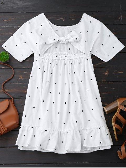Polka Dot Tie Back Ruffle Smock Dress - Blanc L Mobile