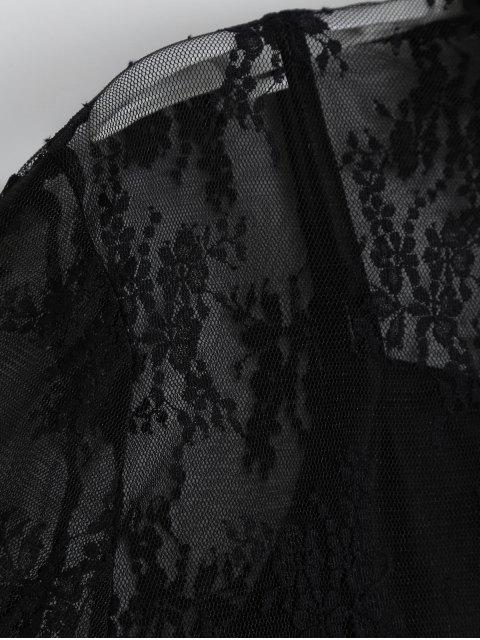 Chemise à manches courtes en dentelle avec débardeur - Noir L Mobile