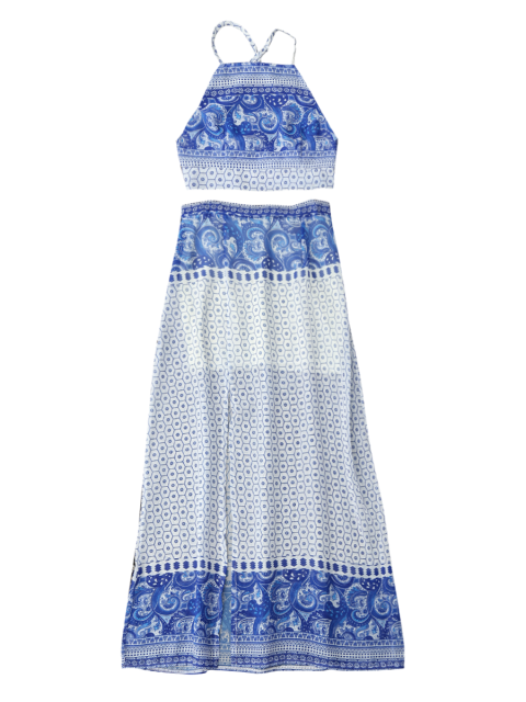trendy Backless Crop Top and High Slit Skirt - BLUE XL Mobile