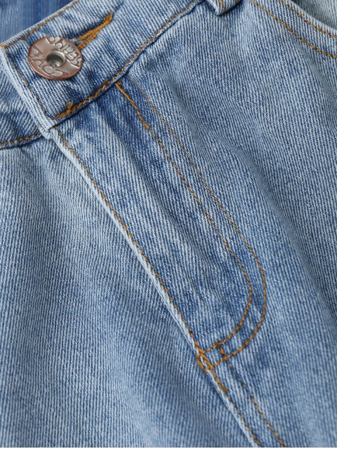buy Distressed Frayed Hem Zipper Up Jeans - LIGHT BLUE S Mobile
