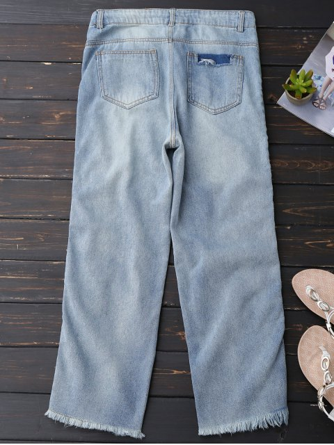 womens Distressed Frayed Hem Zipper Up Jeans - LIGHT BLUE M Mobile