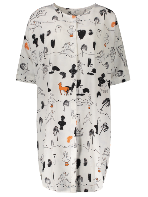 outfits Horse Print Round Neck Half Sleeve Dress - COLORMIX M Mobile
