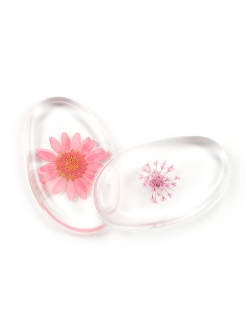 fashion SIXPLUS 2Pcs Dried Flower Embedded Silicone Makeup Sponges - PINK  Mobile