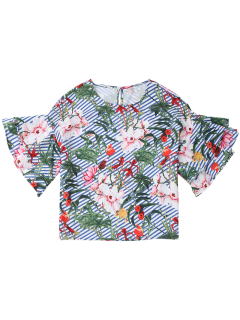 online Floral Ruffle Sleeve Top With Stripe - FLORAL M Mobile