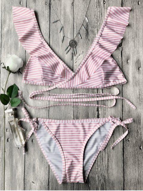 womens Striped Ruffles Strap Wrap String Bikini Set - PINK S Mobile