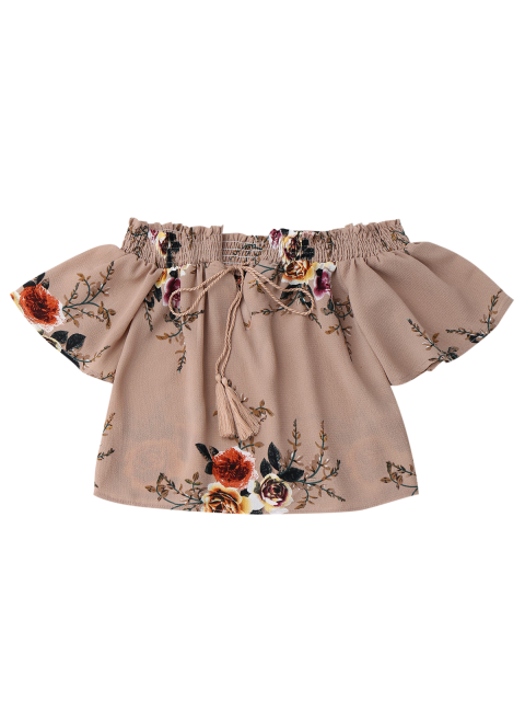 outfits Off Shoulder Floral Cropped Blouse - DARK NUDE L Mobile