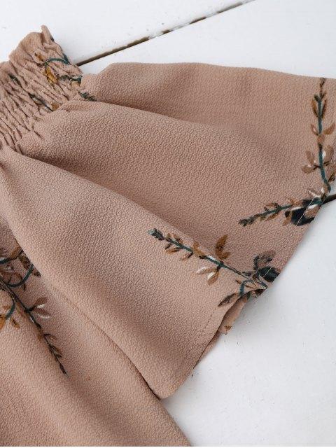 hot Off Shoulder Floral Cropped Blouse - DARK NUDE S Mobile