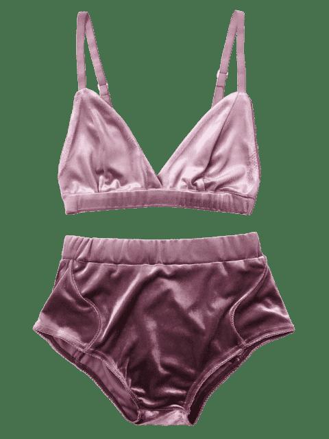 trendy High Waist Velvet Bra Set - PURPLE S Mobile