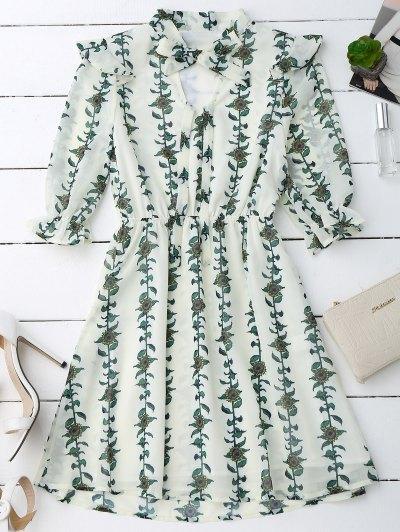 Sunflower Print Bow Tie Neck Holiday Dress - Palomino