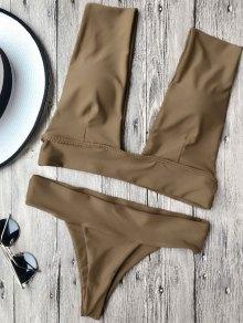Soft Pad Plunge Bathing Suit - Brown M