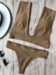 Soft Pad Plunge Bathing Suit - Brown L
