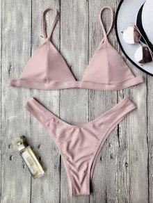 Spaghetti Straps Padded Thong Bikini Set - Pink