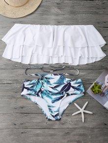 Flounce Layers Off The Shoulder Bikini Set - White