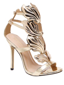 Mini Heel Double Buckle Strap Sandals - Golden