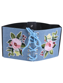 Lace Up Floral Embroidery Wide Leather Belt