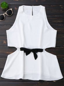Sleeveless Side Cut Chiffon Top