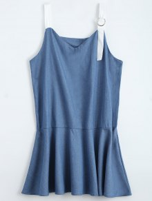 Straps Ruffle Denim Dress - Denim Blue L