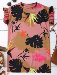 Ruffle Tropical Print Shift Dress - L
