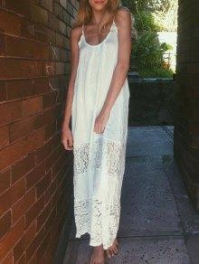 Spaghetti Strap Floral Pattern Lace Maxi Dress - White