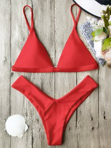 Soft Pad Spaghetti Straps Thong Bikini Set - Rouge