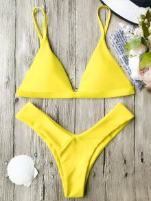 Soft Pad Spaghetti Straps Thong Bikini Set - Yellow S