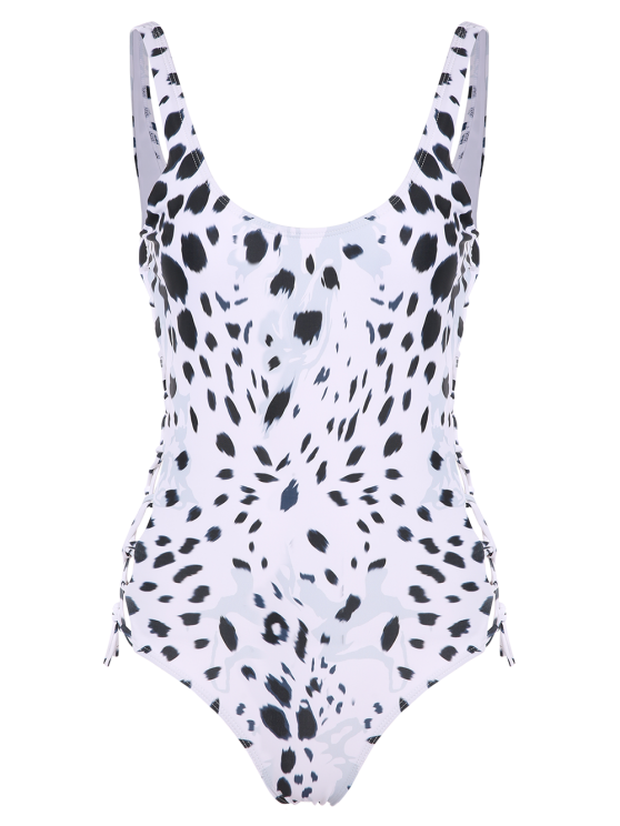 Irregular Spot Side Lace Up Swimsuit - WHITE M Mobile