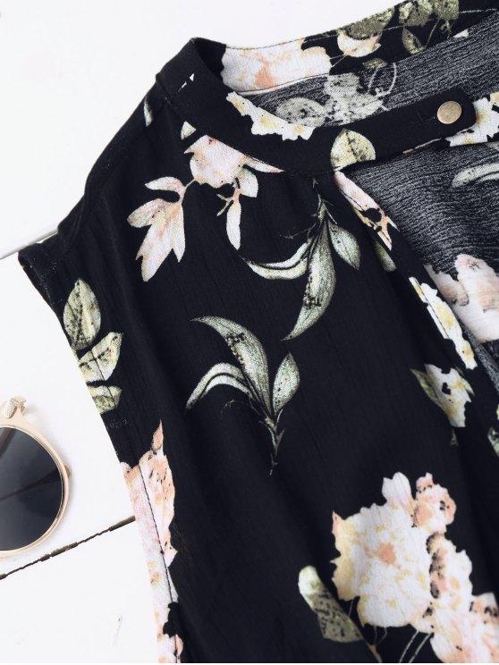Keyhole Floral Tunic Dress - BLACK L Mobile