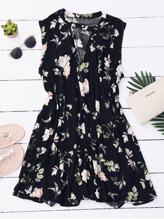 Vestido de Túnica Floral con Escote de Ojo de Cerradura - Negro L