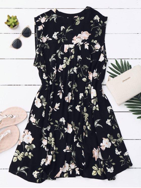 Keyhole Floral Tunic Dress - BLACK S Mobile